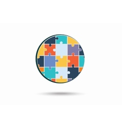 Abstract circle made of puzzle pieces vector image