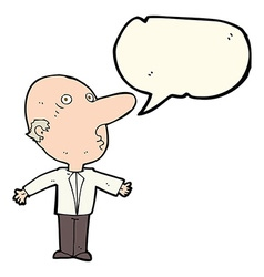Cartoon confused middle aged man with speech vector