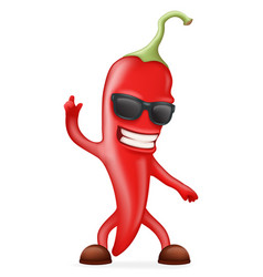 hot chili pepper sunglasses happy character vector image vector image