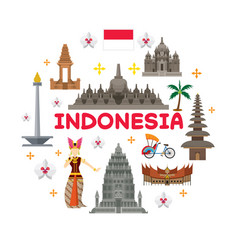 Indonesia travel attraction label vector