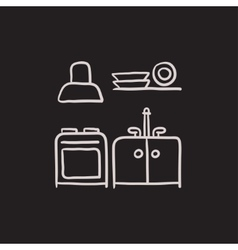 Kitchen interior sketch icon vector image
