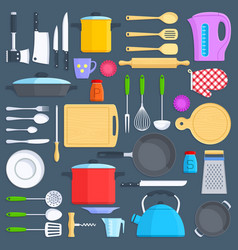 kitchen tools cookware and kitchenware flat icons vector image vector image