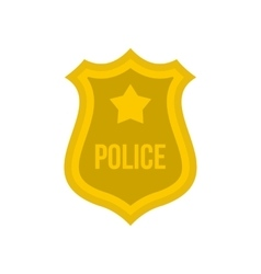 Police badge icon flat style vector image vector image