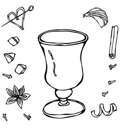 sketch glass with irish coffee hand drawn vector image vector image