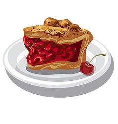 slice of cherry pie vector image
