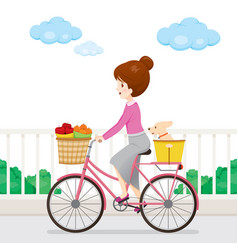 young woman riding bicycle with fruits and dog vector image