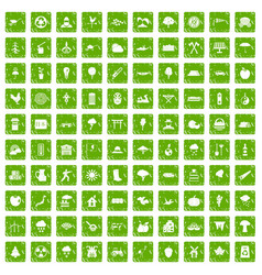 100 tree icons set grunge green vector