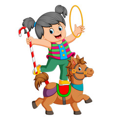 a girl is playing with the ring and candy stick vector image