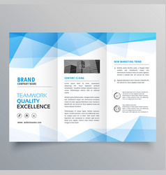 Abstract blue geometric trifold brochure design vector