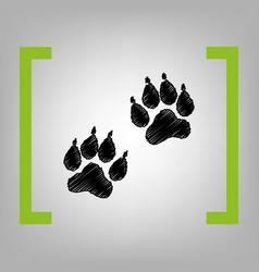 Animal tracks sign black scribble icon in vector