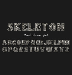 Antique old font with skeletons for posters day vector