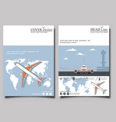 aviation flyers set with airplane vector image