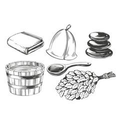 Bath accessories russian sauna water steam vector