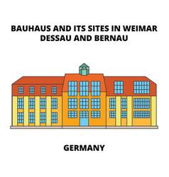 Bauhaus dessau unesco germany line icon conc vector