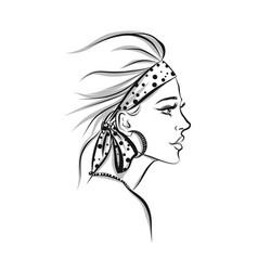 Beautiful woman line art vector