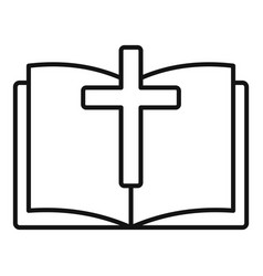 Bible book icon outline style vector