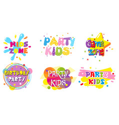 Birthday party kids zone label banner set vector