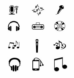 Black Music Instruments Icons Set vector image