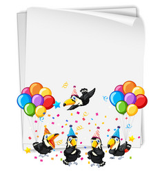 blank banner with many birds in party theme vector image