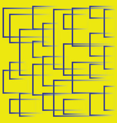 Bright yellow background with blue dynamic squares vector