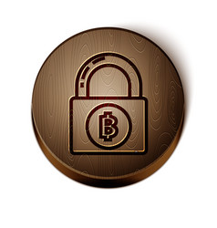 Brown line lock with bitcoin icon isolated on vector