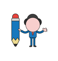 businessman character holding pencil color and vector image