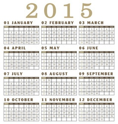 Calendar for the year 2015 vector image