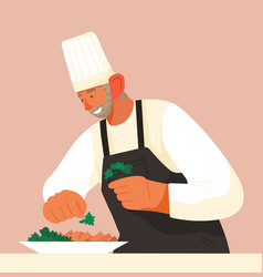 Chief-cooker elderly man at work cartoon vector