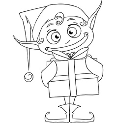Christmas Elf Holding A Present Coloring Page vector