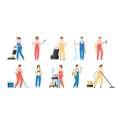 cleaning service workers male female cleaner vector image