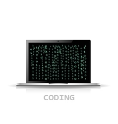 Code Flat Design with laptop digital icon vector