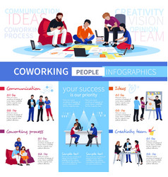 Coworking people flat infographic poster vector