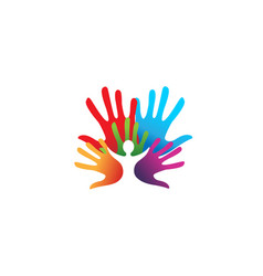Creative colorful hands kid inside logo vector