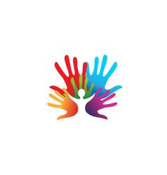 Creative colorful hands kid inside logo vector