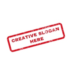 Creative slogan here text rubber stamp vector