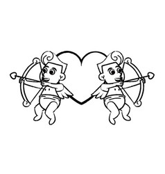 Cupids with archs on heart sketch vector