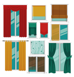 Curtains blinds and shutters on windows fabric and vector