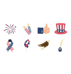 day of patriot holiday icons in set collection vector image