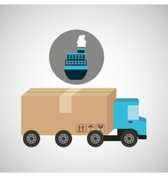 Delivery truck concept cargo marine transport vector
