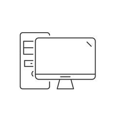 desktop computer linear icon on white background vector image