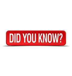 Did you know red 3d square button isolated on vector