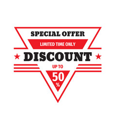 discount up to 50 percent off badge design specia vector image