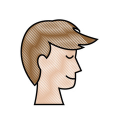Drawing profile head man male hairstyle vector