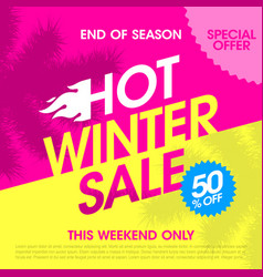 end of season hot winter sale banner vector image