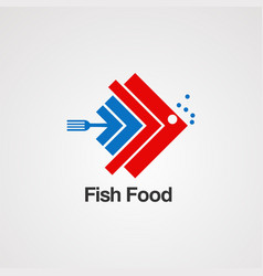 fish food with graphics concept logo iconelement vector image