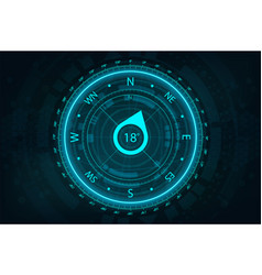 futuristic compass in hud style for ui and ux vector image