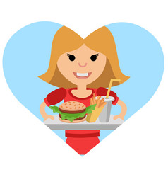 Girl with a tray of food in his hands vector