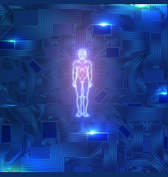 glowing man figure on microscheme vector image
