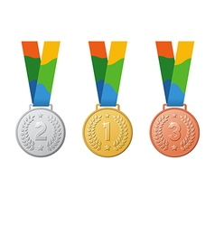 Gold silver bronze sport medal vector