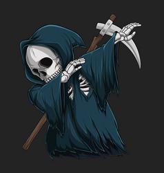 grim reaper skeleton doing dabbing dance vector image
